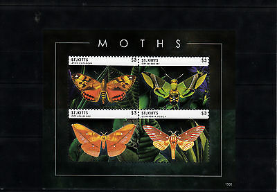 St Kitts 2013 MNH Moths 4v M/S Nature Insects Butterflies