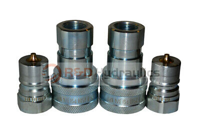 "2 Sets of 3/4"" ISO 7241-B Hydraulic Quick Disconnect Couplers"
