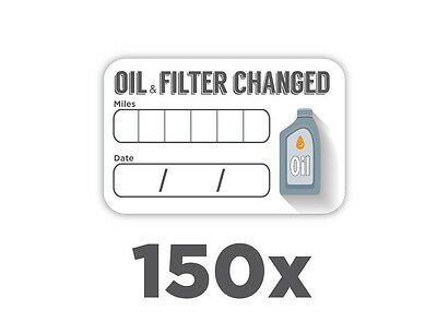 150x Oil & Filter Change Service Stickers WATERPROOF Self Adhesive 59x36mm