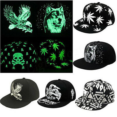 Fashion In The Dark Luminous Glow Hat Snapback Baseball Hip-Hop Night Cap No LED