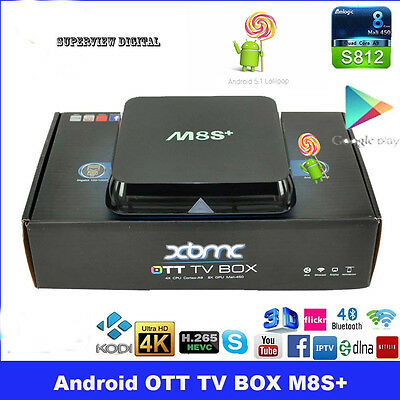 M8S+ PLUS TV Box Android 5.1 KODI 1000M Ethernet 2GB RAM 8GB S812 Quad Core 5G