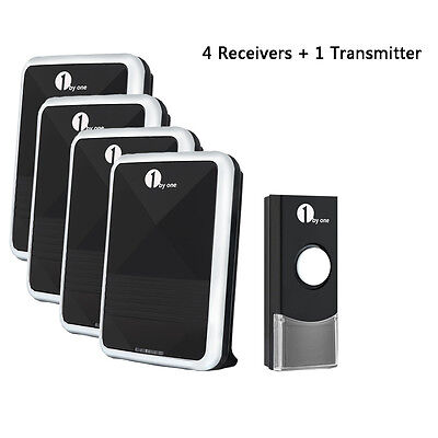 36 Chimes 100M Led Wireless Doorbell Door Bell 4 Receivers Sync 1 Remote Control