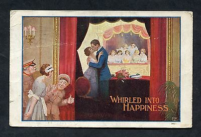 """Theatre Royal Chatham Advertising Card """"Whirled into Happiness"""" Postmark - 1924"""