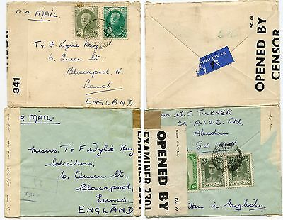 ABIDAN CENSORED AIRMAILS 1939-40 to BLACKPOOL GB...2 ITEMS