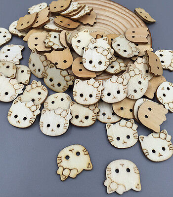 FREE DIY 100pcs cat 2 Holes Wooden Buttons Sewing Scrapbooking Crafts 18mm
