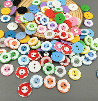 DIY 50-100 Pcs Mixed Flower resin buttons fit Sewing Scrapbooking Crafts 12.5mm