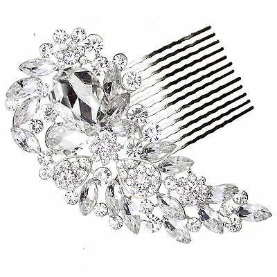 Wedding Silver Gold Jewel Bridal Diamante Hair Comb Slide Fascinator Hairpiece