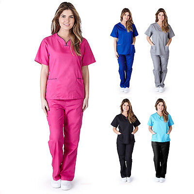 Women's Contrast Scallop Medical Hospital Nursing Uniform Scrubs Set Top & Pants