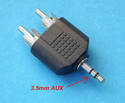 New 3.5mm AUX  to 2 RCA Male Audio Stereo Adapter Splitter Connector Converter