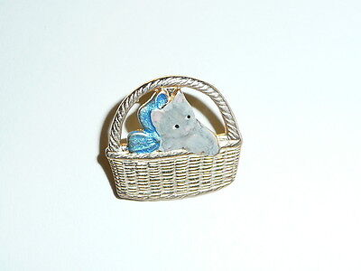"Adorable Gray Kitty Cat in Basket w/ Blue Bow Metal Shank Button  3/4""x5/8"""