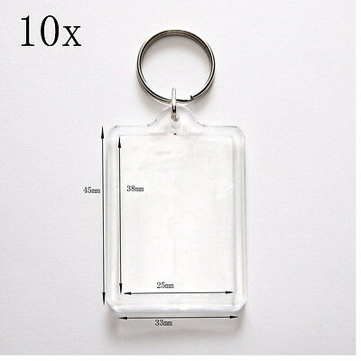 10 - 100x Brand New Clear Acrylic Plastic Blank Keyring Photo Keyrings Wholesale