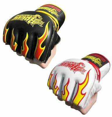 Rogue Special Edition Leather MMA Grappling 7oz Fight Gloves - White Fire
