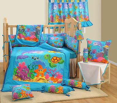 7 Pcs Digital Printed Marine Cotton Baby Crib Cot Bedding Set Bumper Quilt Sheet