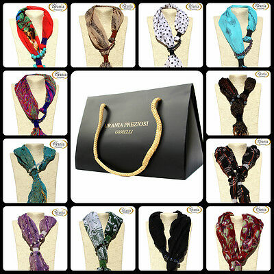 Foulard Sciarpa Gioiello con cristalli swarovski e pietre colorate made in italy