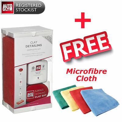 Autoglym Detailing Clay Kit - Clay Bar + Rapid Detailer + Cloth + FREE Microfibr