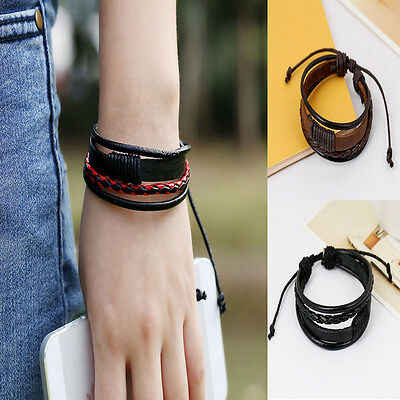 Fashion Retro Multilayer Leather Wristband Bracelet Cuff Bangle Men Women Ca
