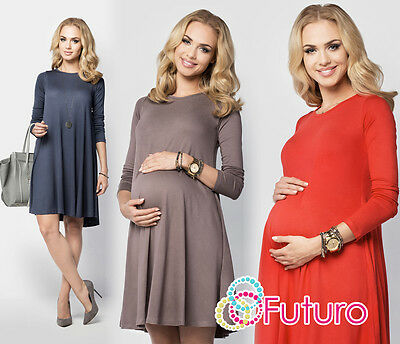 Ladies Maternity Versatile Shift Dress Long Sleeve Crew Neck Plus Size 8-18 FM10