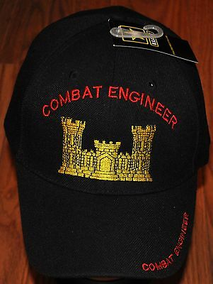 New Black Combat Engineer US Army Hat Ball Cap Veteran