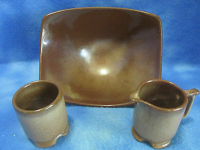 Vintage Frankoma Plainsman Brown Cream and Sugar Set with Square Rice Dish F34