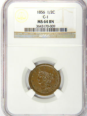 1856 Half Cent - Nice Even Glossy Brown - Ngc Ms64 - Priced For Fast Sale!