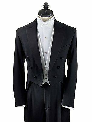 40 XL  Men's Black Full Dress Tuxedo Tailcoat Tux White Tie Tailcoat Satin lapel