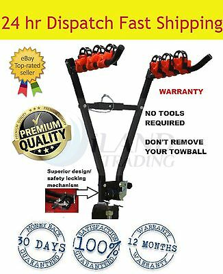"3 Bicycle Bike Car Rear Rack Carrier Tow Ball Mount 2"" Tow Bar Hitch Foldable"