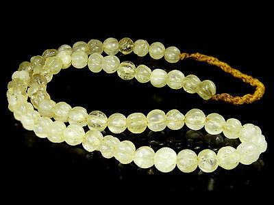 OLD Clear Crystal carved Melon Pumkin Tibet Himalays Prayer Mala Bead Necklace