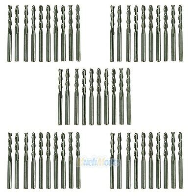"""50X 1/8"""" Carbide Flat Nose End Mill CNC Router Bits Double Flute Spiral 17mm"""