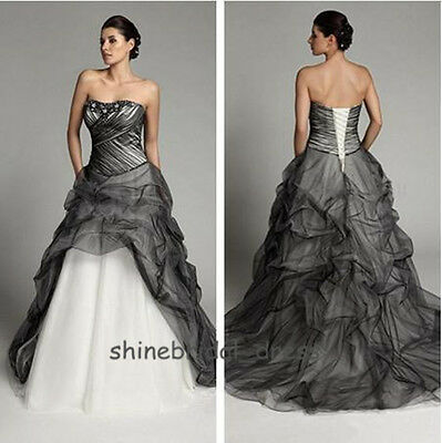 Gothic Black Tulle Wedding Dresses 2015 Fall A Line Bead Plus Size Bridal Gowns