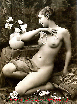 """Classic Nude Woman with Pearls 8.5x11"""" Photo Print Vintage B&W Photography Art"""