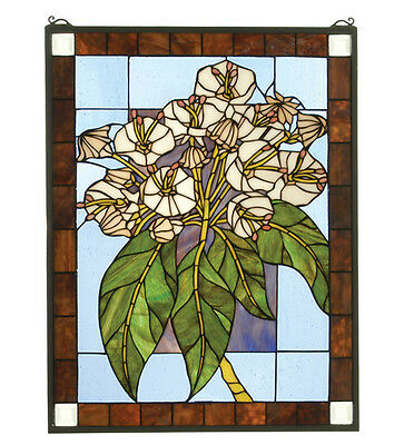 "Meyda Home Decorative Lighting 20""W X 26""H Mountain Laurel Stained Glass Window"