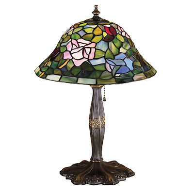 "Meyda Home Indoor Bedroom Decorative 17""H Tiffany Rosebush Accent Lamp"