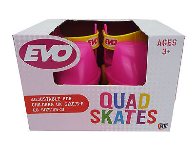 Evo Kids Quad Skates in Pink & Yellow for Girls Adjustable size 5-11 (R3)