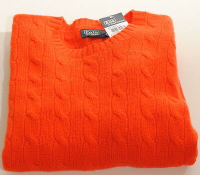Polo Ralph Lauren Bright Orange 100%Cashmere Cableknit Sweater 10-12  $250 F2D