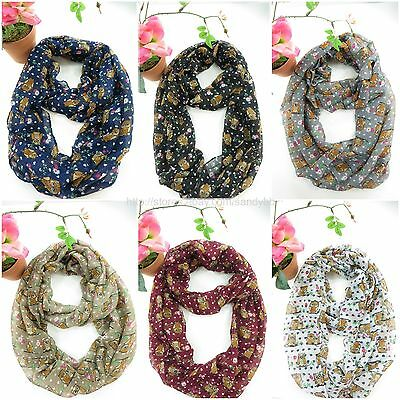 10pc wholesale  gift idea girls women circle loop owl on branch infinity scarf