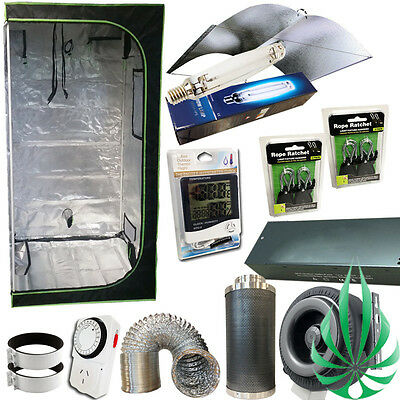 """Grow Tent 1000W HPS MH Lamp Ex-Large Wing 6"""" Duct Fan Carbon Filter Ventalition"""