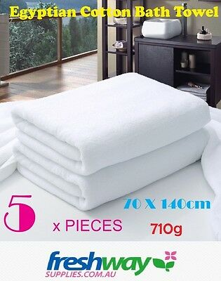Pure Cotton White Extra Large Bath Towel 710g # Brand New, 70 * 140cm, 5 Pieces