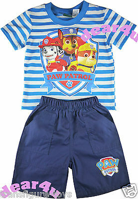 Boys kids Paw Patrol blue stripe outfit sets tee and denim shorts size 2 3 4 5