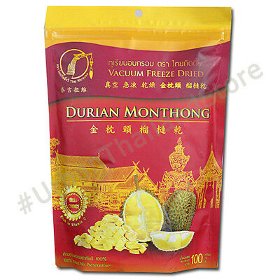 Dried Freeze Durian Thai Snack Monthong King of Fruit Tropical 100g.