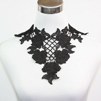 Black Off White Collar Neckline Lace Trimming Venise Appliques Sewing Crafts DIY