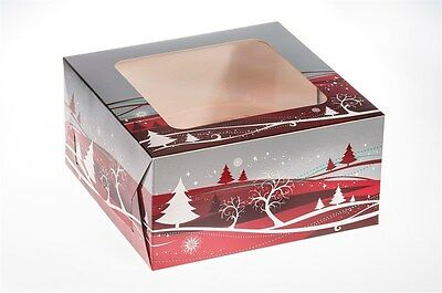 10 inch square Christmas Cake Boxes  pack of 5 Quality Boxes  Tree Design