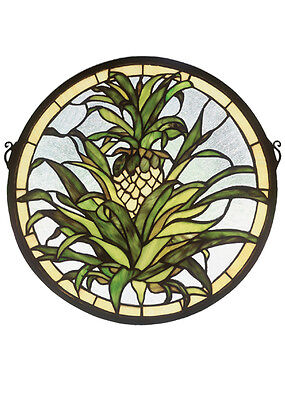 "Meyda Decorative 16""W X 16""H Welcome Pineapple Medallion Stained Glass Window"