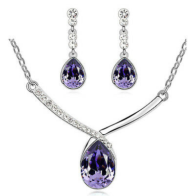 Elegant Purple Teardrop Bridal Crystal Jewellery Set Drop Earrings Necklace S825