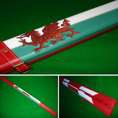 Quality Hand Crafted 1 piece Leather WELSH RED DRAGON Hard Snooker Cue Case
