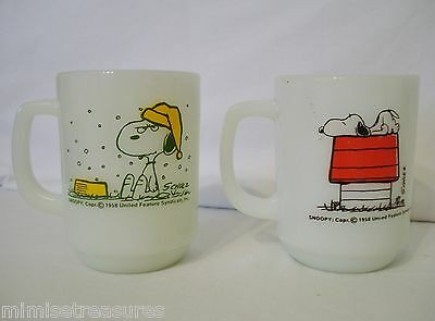 2 Snoopy Fire King Mugs Snows on French Toast Allergic to Mornings 58 Schulz Mug