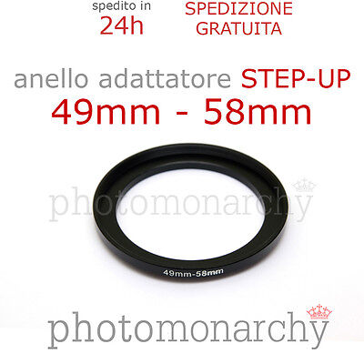 Anello STEP-UP adattatore da 49mm a 58mm filtro - STEP UP adapter ring 49 58 mm