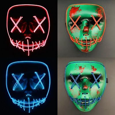 """The Purge Movie Light Up Flash LED Wire """"Smiling Stitched"""" Scary Mask Halloween"""