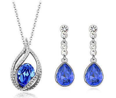 Silver & Royal Dark Blue Water Drop Jewellery Set Stud Earrings & Necklace S530