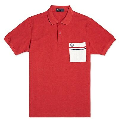 Fred Perry Knitted Pocket Polo Shirt Short Sleeved Top British Knitting Patterns