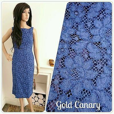Vintage 50s 60s Brilkie Cobalt Blue Lace Daisy Wiggle Shift Cocktail Dress 8 36